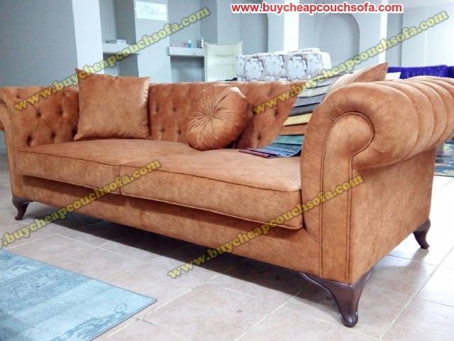 Chesterfield Couch Sofa Velvet Brick Brown Fabric