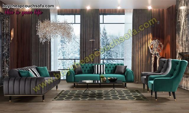 Grey Green Velvet Sofa Set Cheap Luxury Living Room Sofa Set