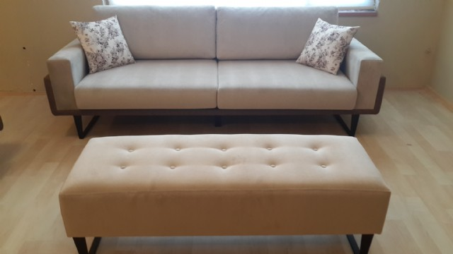Beige Fabric Sofa With Ottoman Handmade Wooden Frame