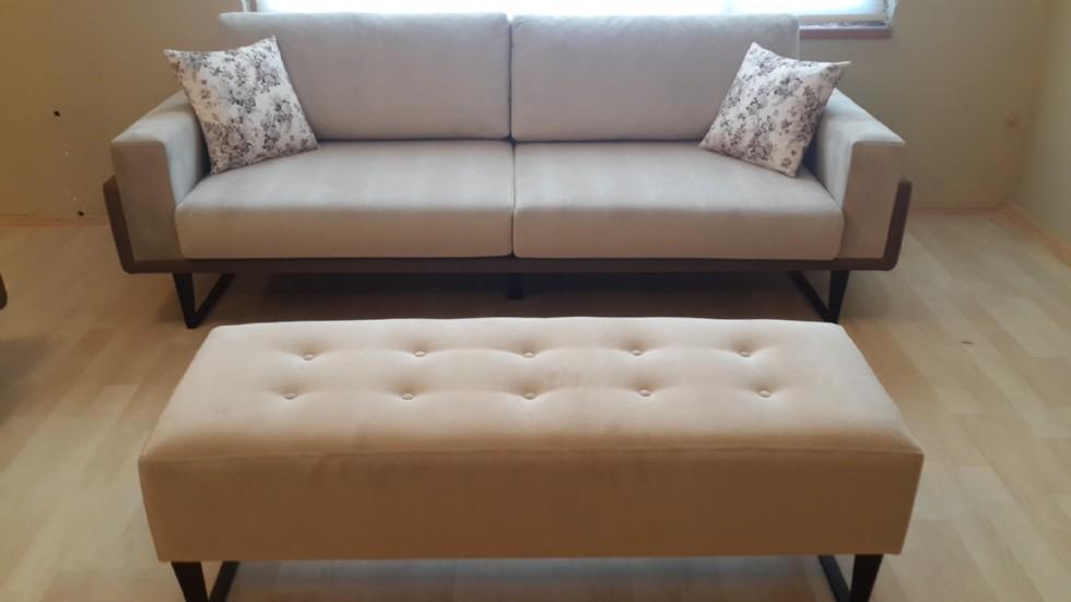 Beige Fabric Sofa With Ottoman Handmade Wooden Frame