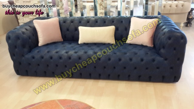 Blue Leather Sofa Fully Quilted Luxury Navy Blue Chesterfield Sofa