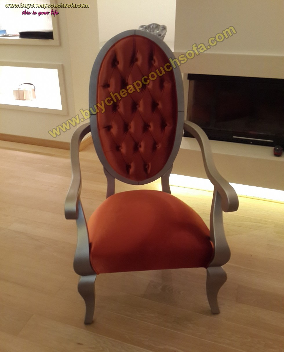 Brick Color Velvet Armchair Tufted Luxury Wooden Gray Varnished