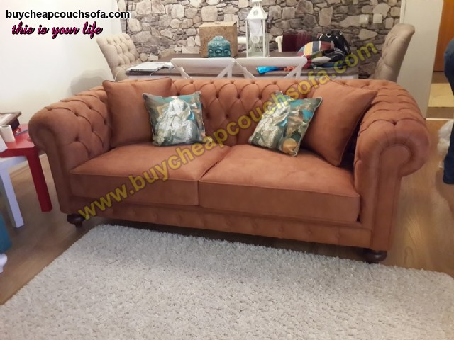 Brown & Gray Luxury Chesterfield Sofa 3 Seater Chesterfield Sofa