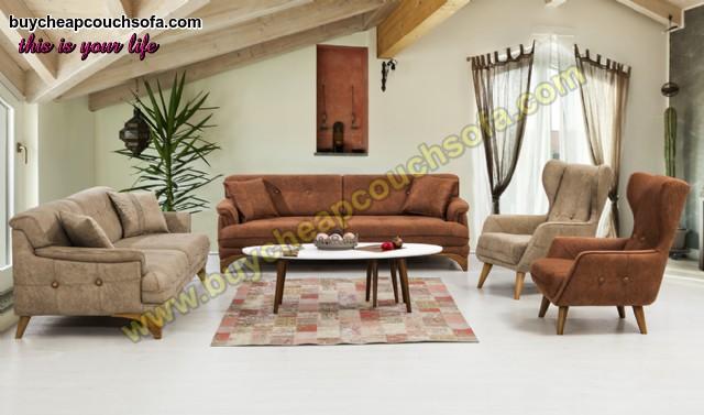 Brown Cream Sofa Set Cheap Luxury Modern Living Room Sofa Set