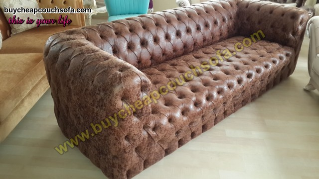 Brown Leather Modern Chesterfield Sofa Luxury Handmade