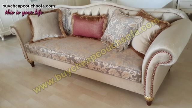 Cream Velvet Fabric Sofa Avant-garde Retro Sofa Set Luxury Living Room
