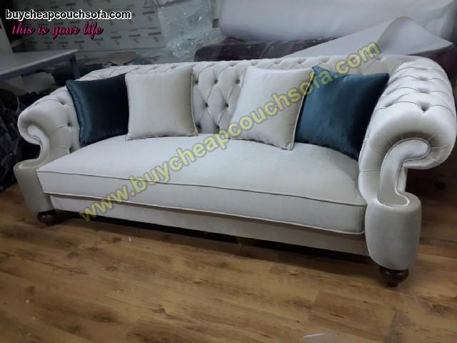 Elegance Gray Velvet Sofa 3 Seater Luxury Counch High Comfortable