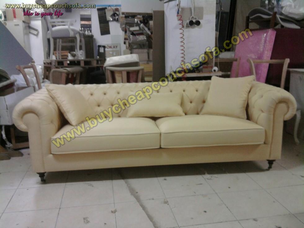 Luxury Cream Beige Velvet Chesterfield Sofa 3 Seater Rolled Arms