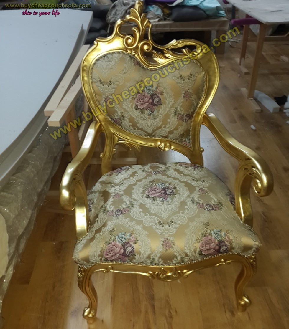 Luxury Curved Armchair Accent Chair Wooden Gold Leaf Polished