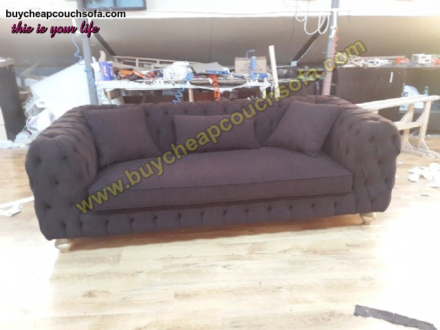Luxury Modern Chesterfield Sofa Black Velvet Tufted Sofa Loveseat