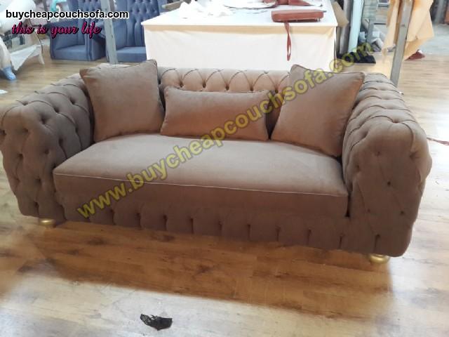 Luxury Modern Chesterfield Sofa Brown Velvet Tufted Sofa Loveseat