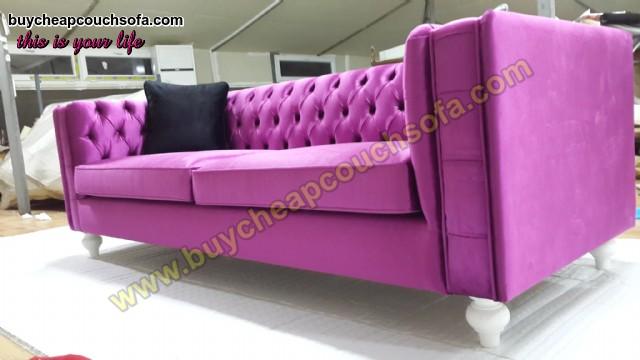 Pinky Maroon Velvet Luxury Sofa 3 Seater