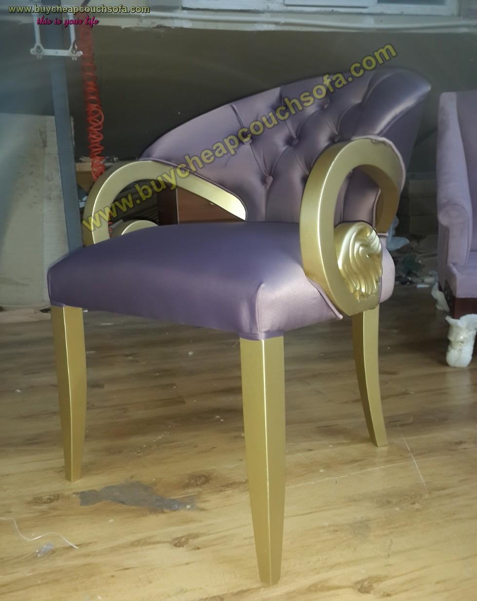 Purple Velvet Armchair Accent Chair Wooden Chair Tufted Luxury