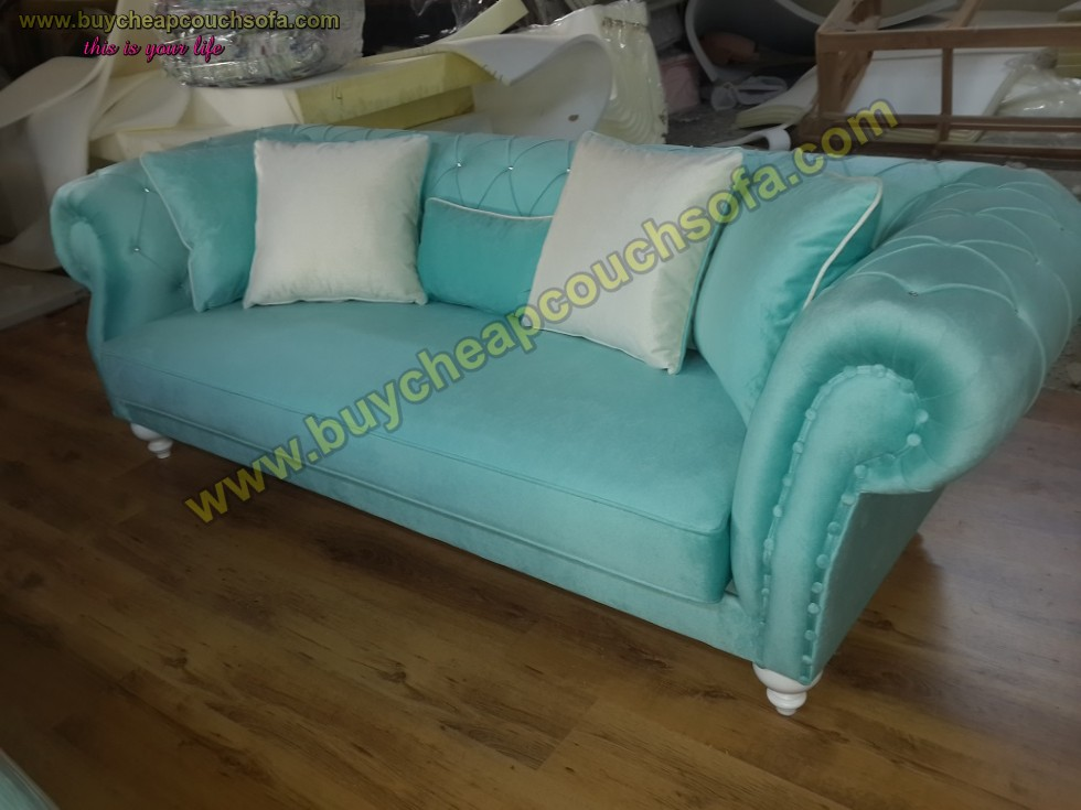 Turquoise Blue Velvet Chesterfield Sofa Luxury Cheap Sofas Buy Cheap Couch Sofa