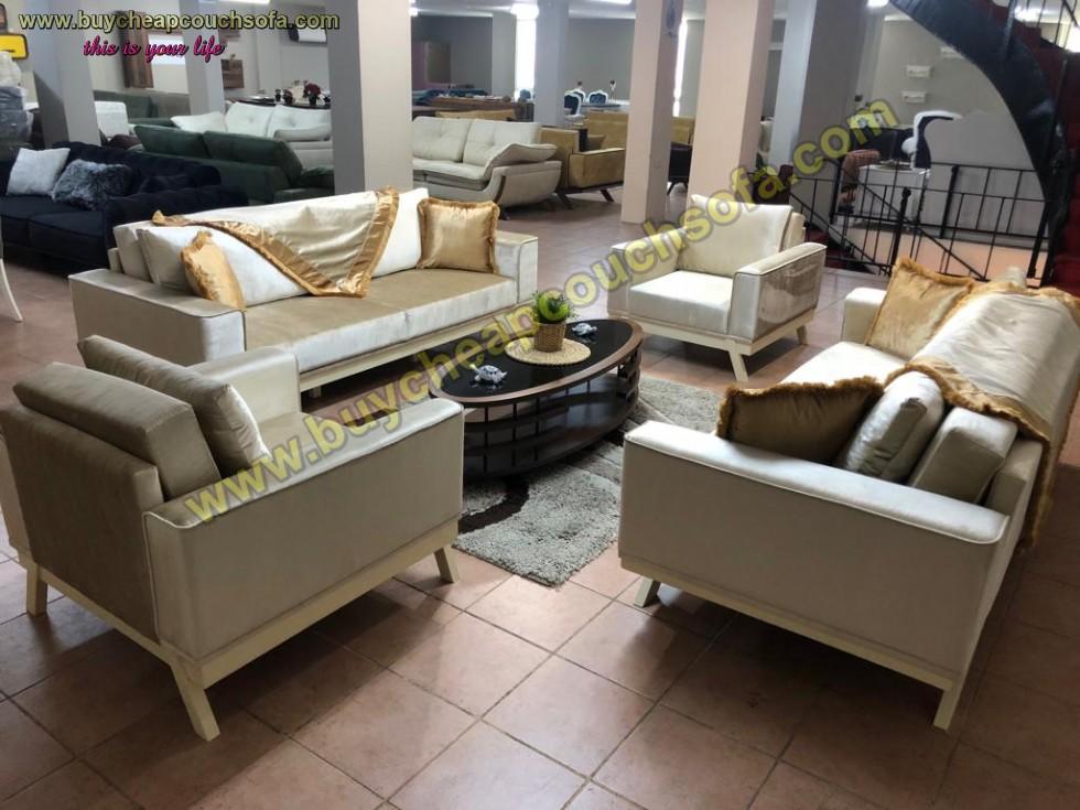 Velvet Sofa Set Modern Luxury Sofa Beige/gold Velvet Fabric
