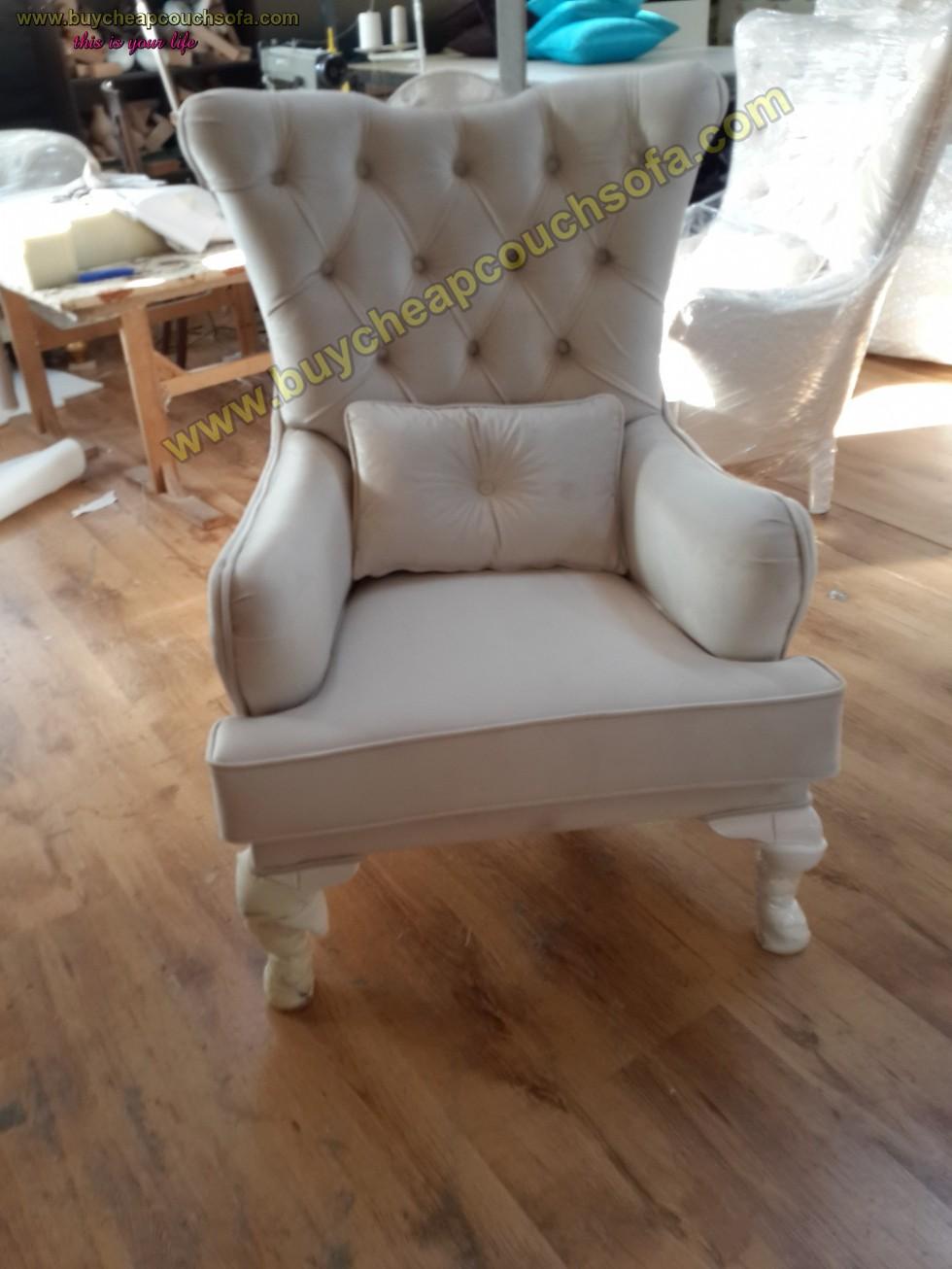 White Velvet Armchair Tufted Luxury Best Design Accent Arm Chair