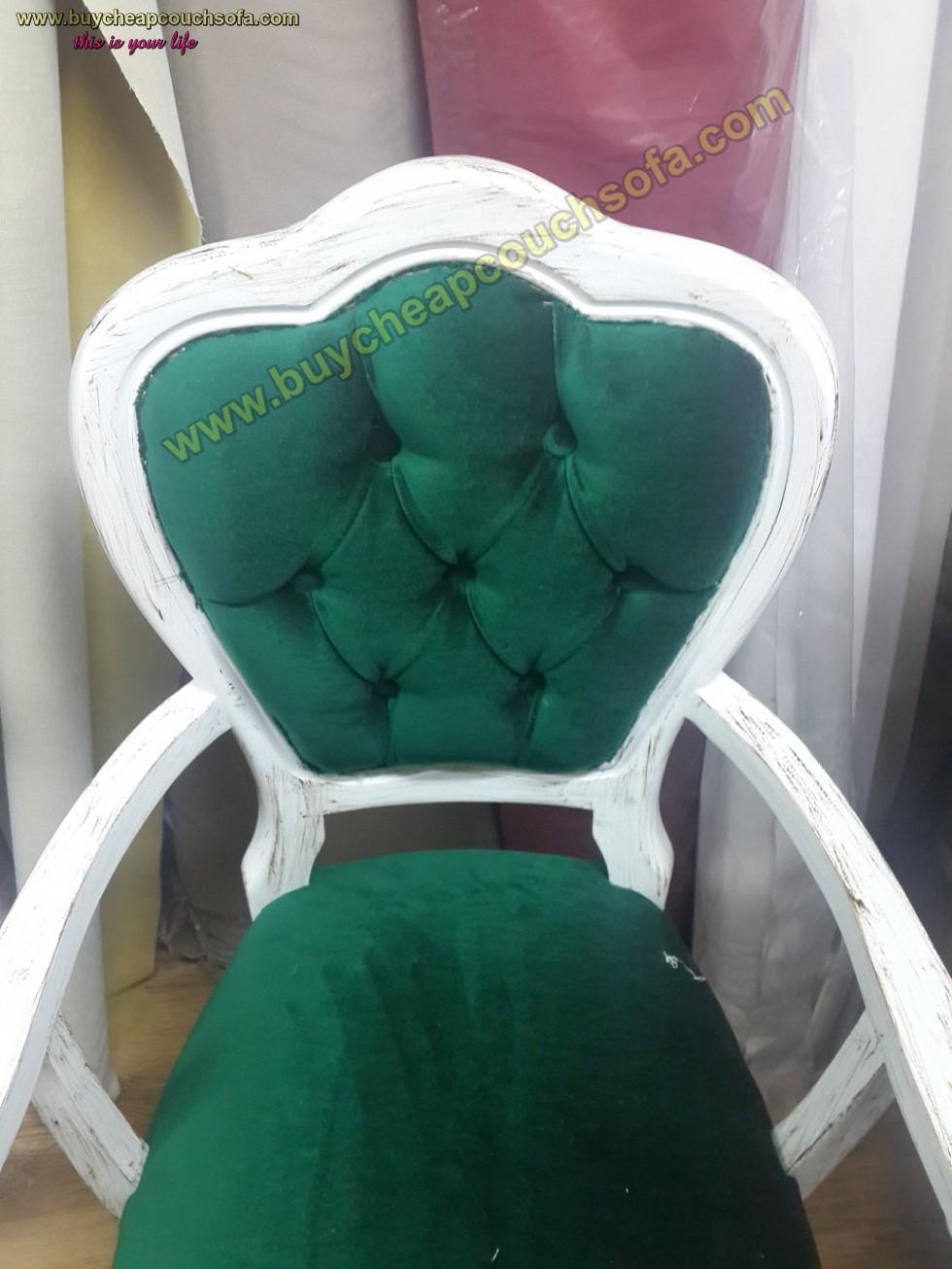 Kodu: 10239 - Antique Luxury Accent Chair Green Velvet White Antique Polished