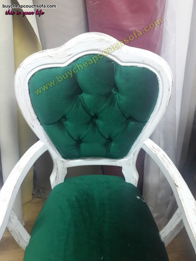 Antique Luxury Accent Chair Green Velvet White Antique Polished