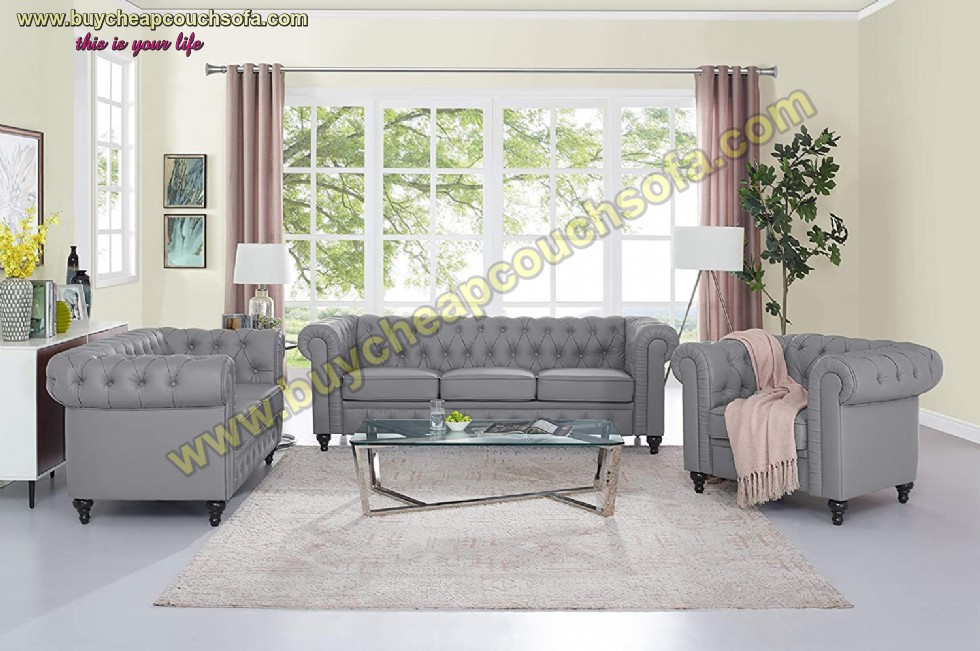 Kodu: 10413 - Black Gray Chesterfield Sofa Set With Rolled Arms Luxury Leather