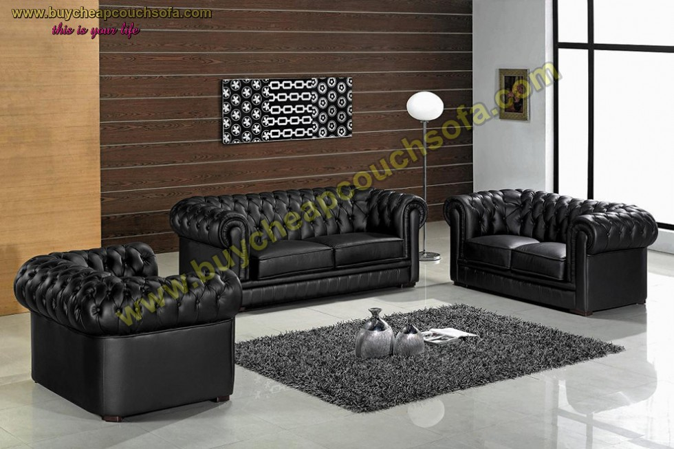 Kodu: 10414 - Black Gray Chesterfield Sofa Set With Rolled Arms Luxury Leather