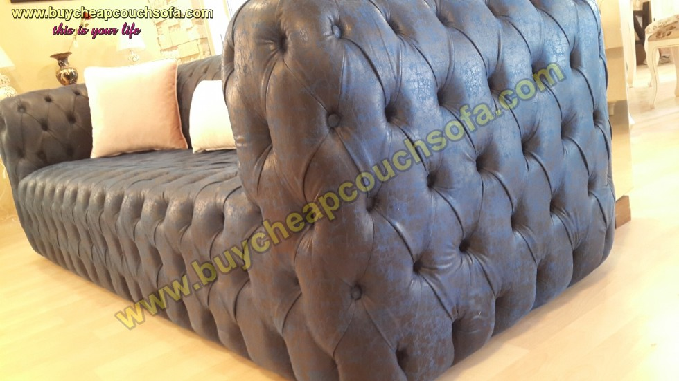 Kodu: 12396 - Blue Leather Sofa Fully Quilted Luxury Navy Blue Chesterfield Sofa