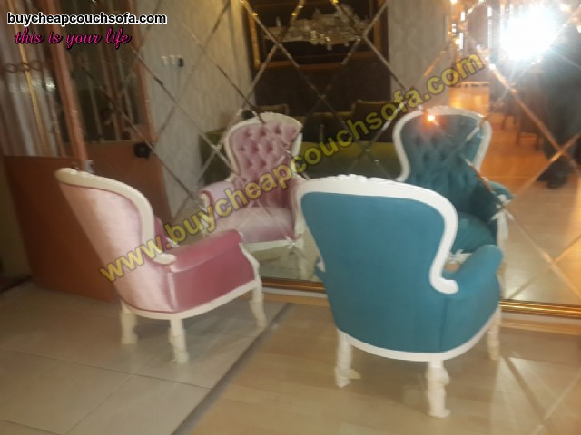 Blue Pink Accent Chair Armchair Wingback Chair Velvet Wooden Luxury