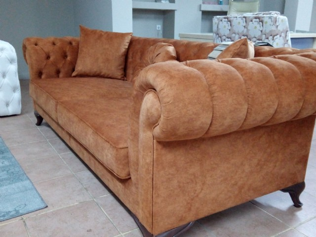 Brown Fabric Chesterfield Couch 3 Seats
