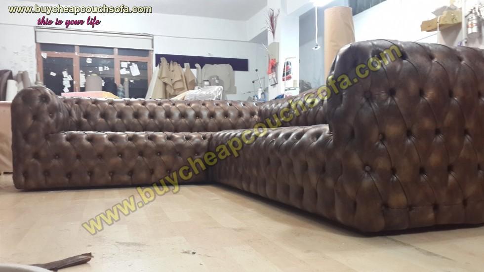 Kodu: 12393 - Brown Leather L Shaped Sofa Luxury Handmade Exclusive Corner