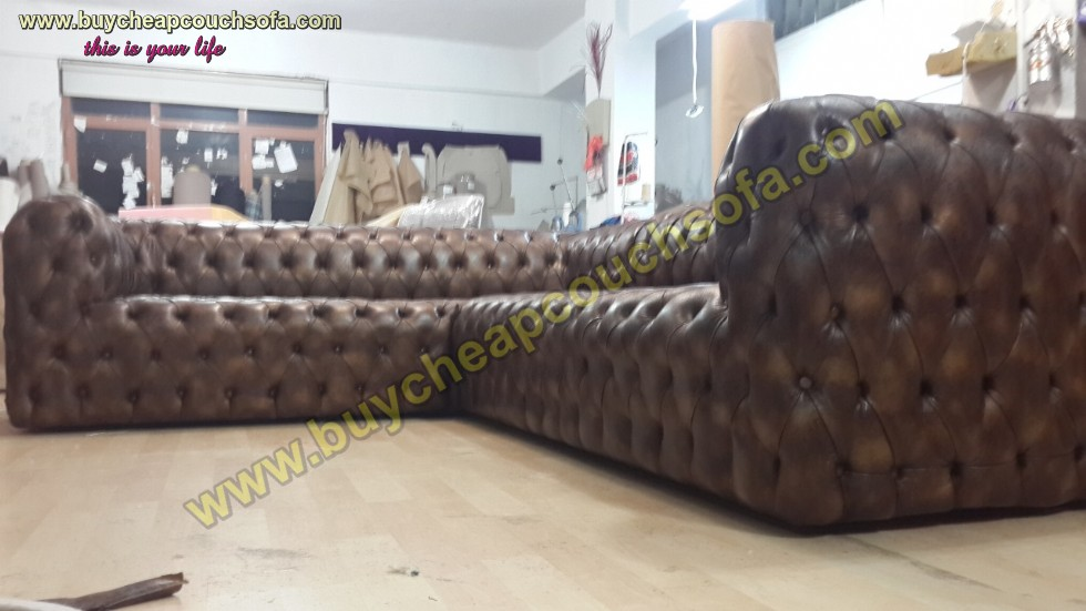 Kodu: 12394 - Brown Leather L Shaped Sofa Luxury Handmade Exclusive Corner