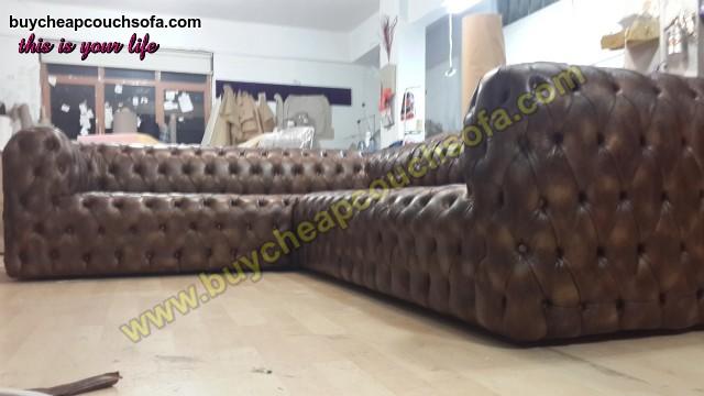 Brown Leather L Shaped Sofa Luxury Handmade Exclusive Corner
