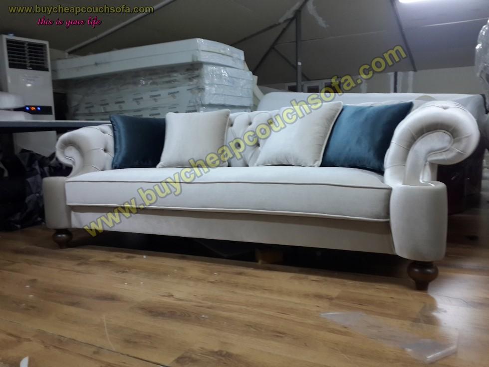 Kodu: 10243 - Elegance Gray Velvet Sofa 3 Seater Luxury Counch High Comfortable