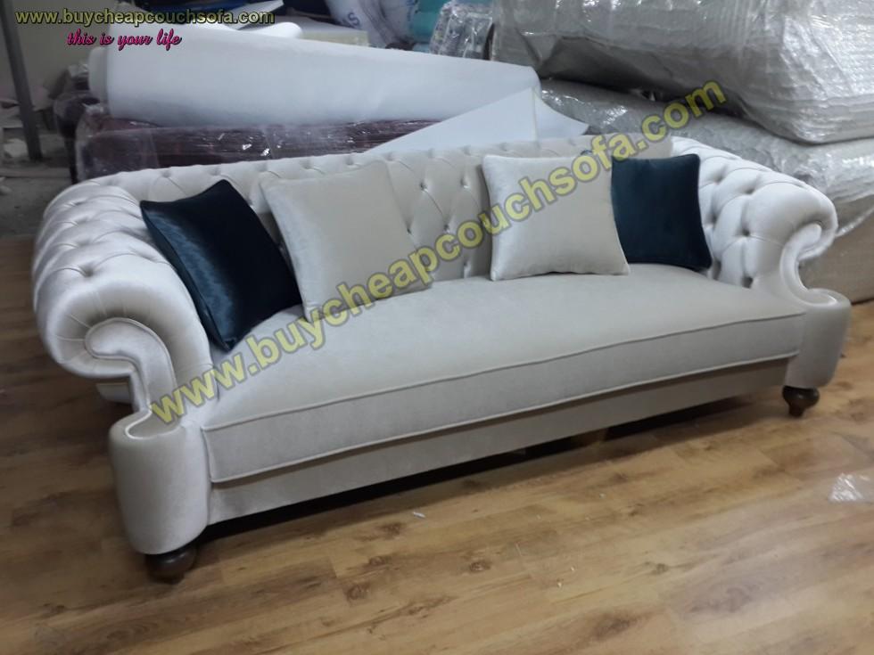 Kodu: 10244 - Elegance Gray Velvet Sofa 3 Seater Luxury Counch High Comfortable
