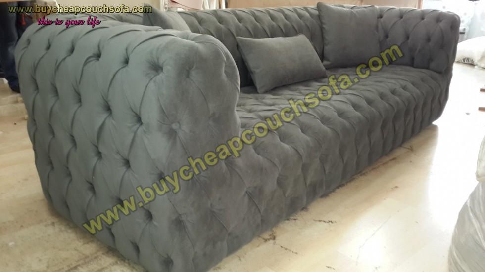 Kodu: 12388 - Gray Fabric Modern Chesterfield Sofa Luxury Handmade