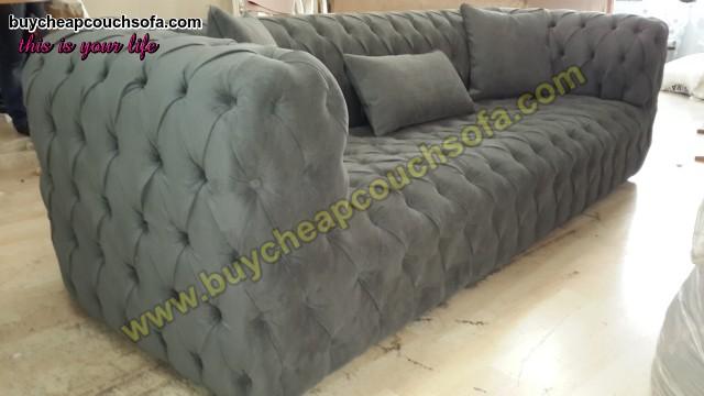Gray Fabric Modern Chesterfield Sofa Luxury Handmade