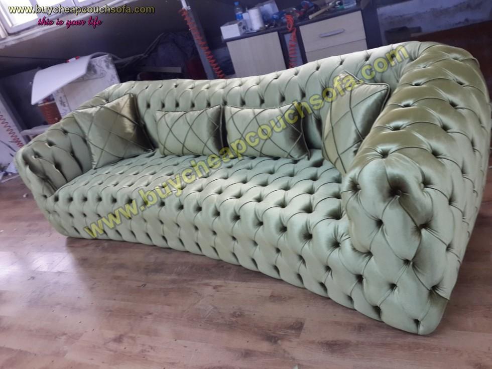 Kodu: 10249 - Luxury Chesterfield Sofa Green Velvet 4 Seater Curved Ultra Modern