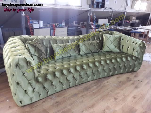Luxury Chesterfield Sofa Green Velvet 4 Seater Curved Ultra Modern
