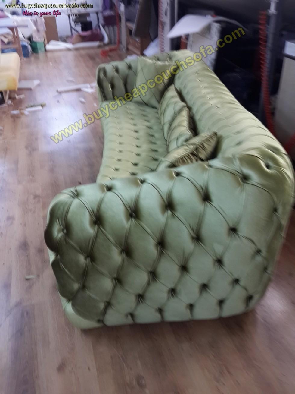 Kodu: 10253 - Luxury Chesterfield Sofa Green Velvet 4 Seater Curved Ultra Modern