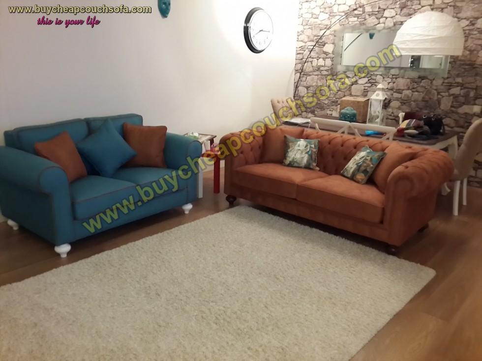 Kodu: 10318 - Luxury Chesterfield Sofa Set Brown Blue Sofas