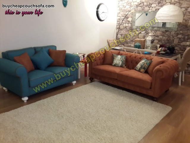 Luxury Chesterfield Sofa Set Brown Blue Sofas