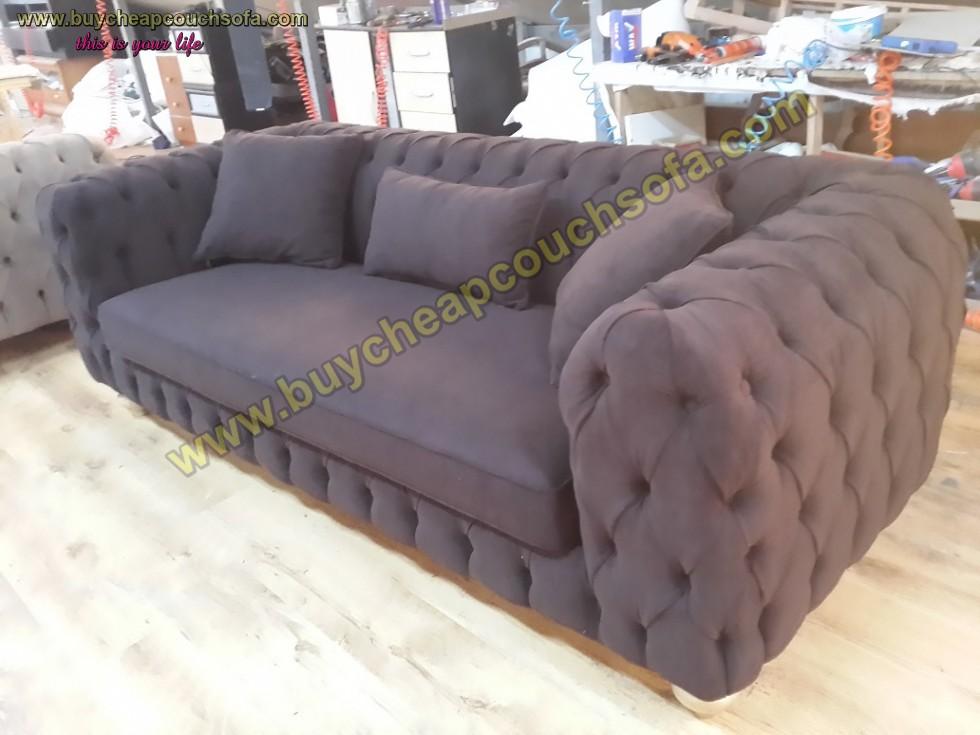 Kodu: 10315 - Luxury Modern Chesterfield Sofa Black Velvet Tufted Sofa Loveseat