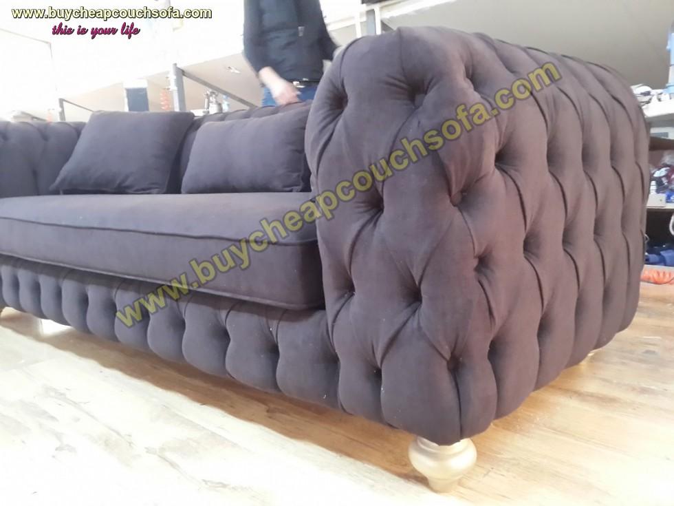 Kodu: 10316 - Luxury Modern Chesterfield Sofa Black Velvet Tufted Sofa Loveseat