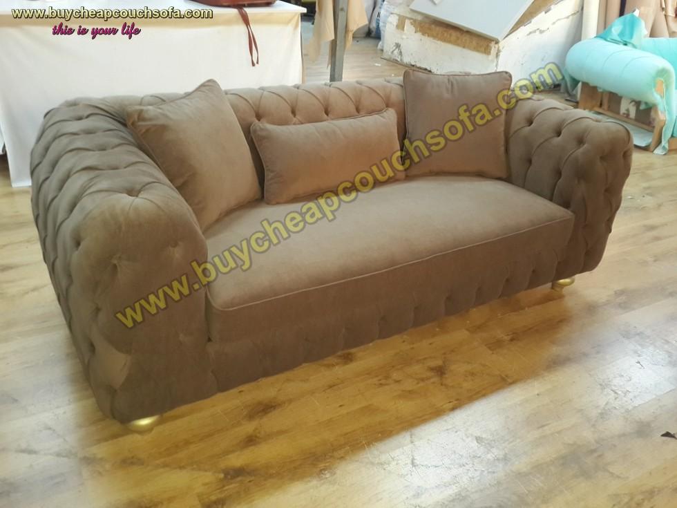 Kodu: 10313 - Luxury Modern Chesterfield Sofa Brown Velvet Tufted Sofa Loveseat