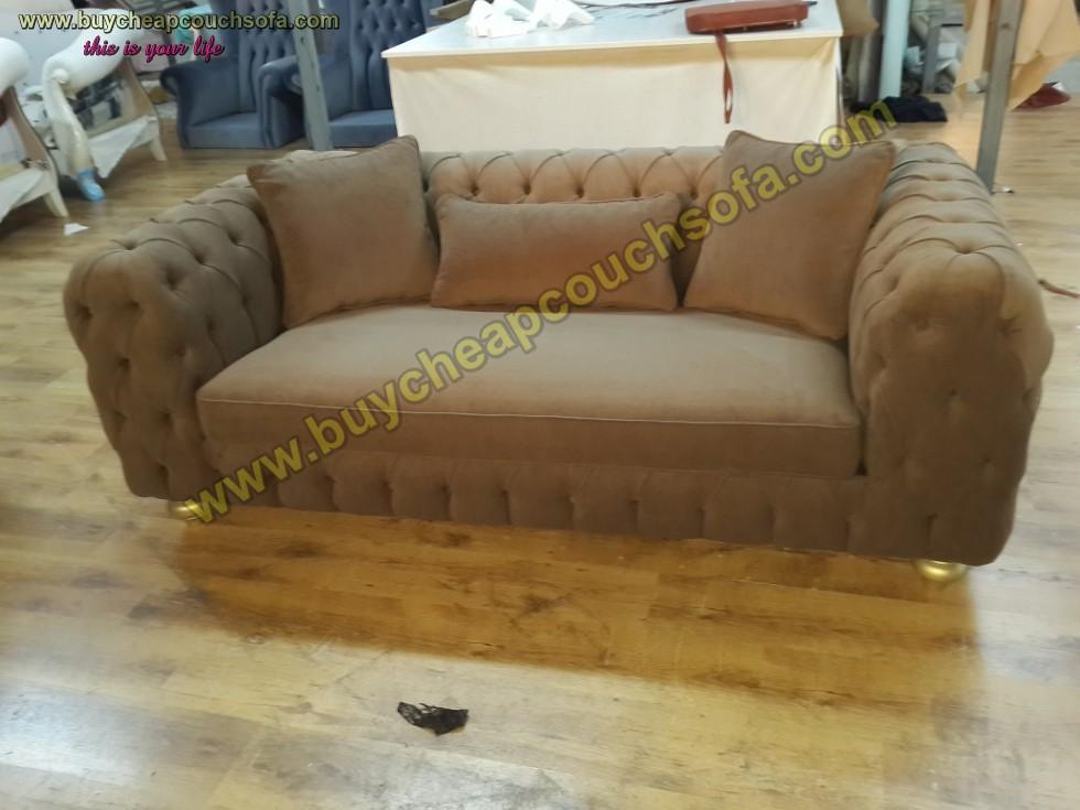 Kodu: 10314 - Luxury Modern Chesterfield Sofa Brown Velvet Tufted Sofa Loveseat