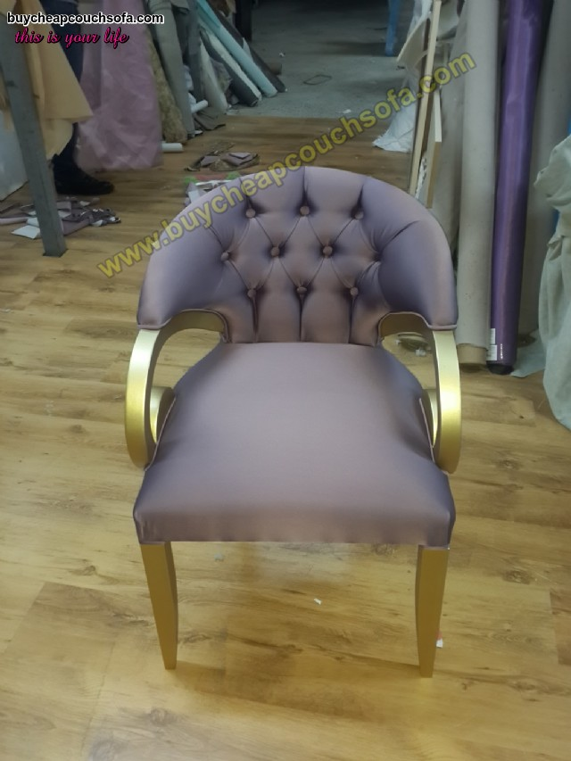 Purple Velvet Armchair Accent Chair Wooden Chair Tufted Luxury