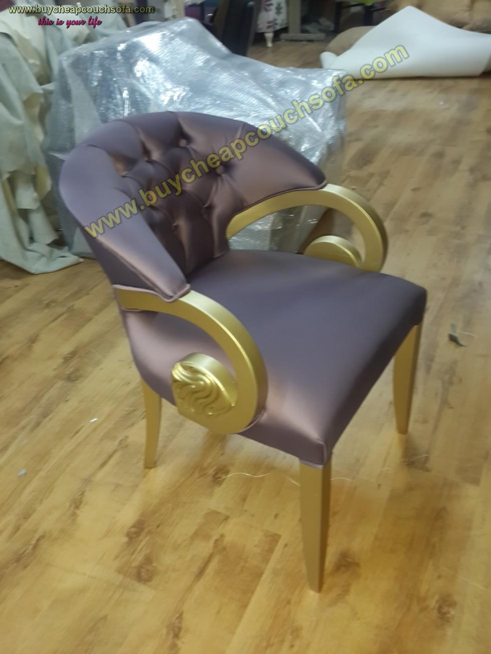 Kodu: 10229 - Purple Velvet Armchair Accent Chair Wooden Chair Tufted Luxury