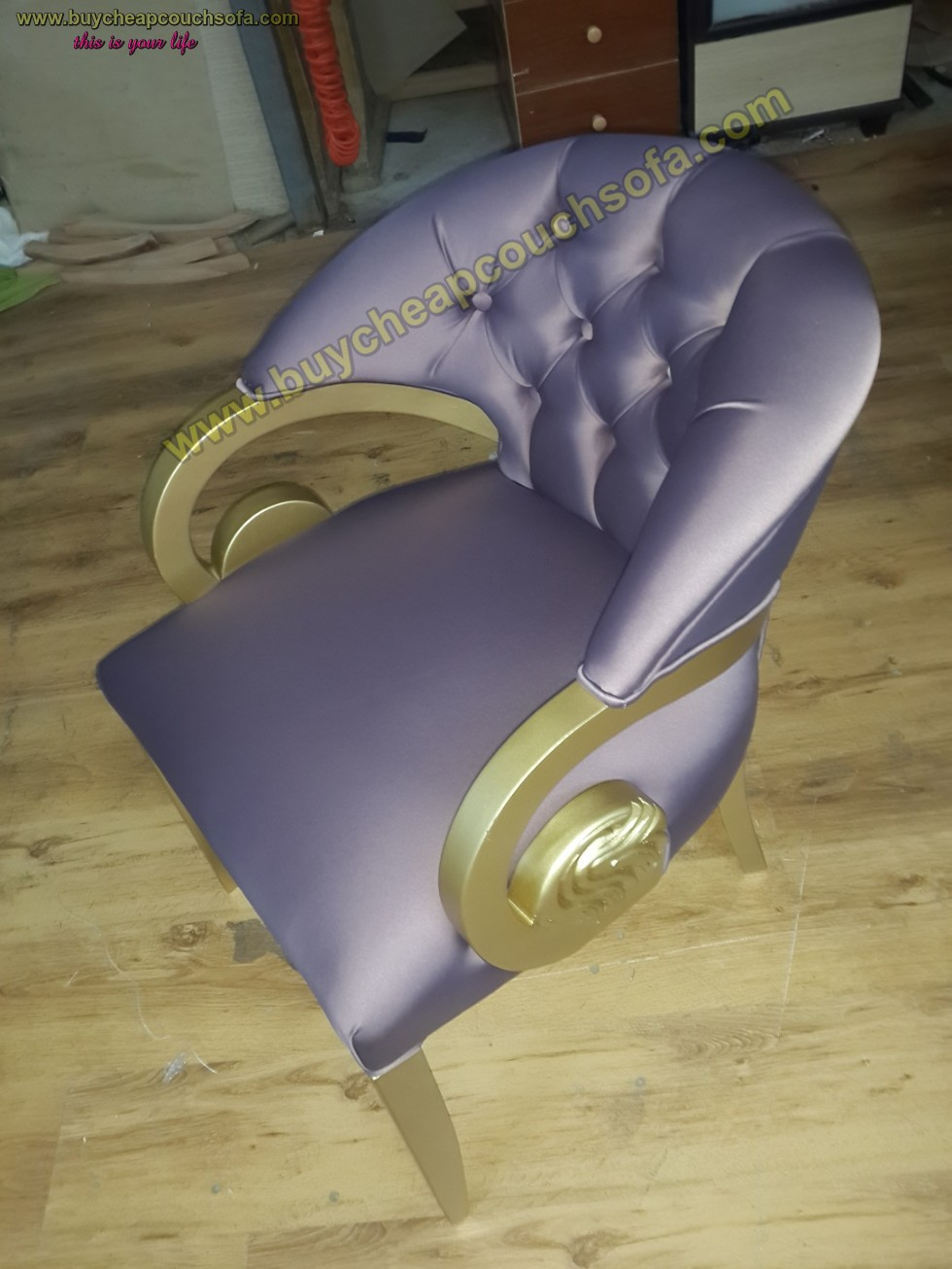 Kodu: 10230 - Purple Velvet Armchair Accent Chair Wooden Chair Tufted Luxury