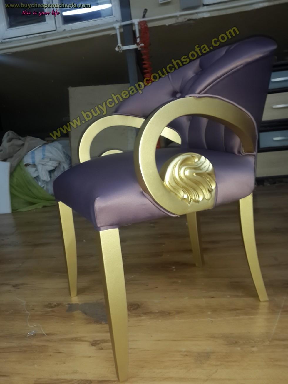 Kodu: 10231 - Purple Velvet Armchair Accent Chair Wooden Chair Tufted Luxury