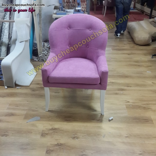 Purple Velvet Armchairs With White Wooden Legs