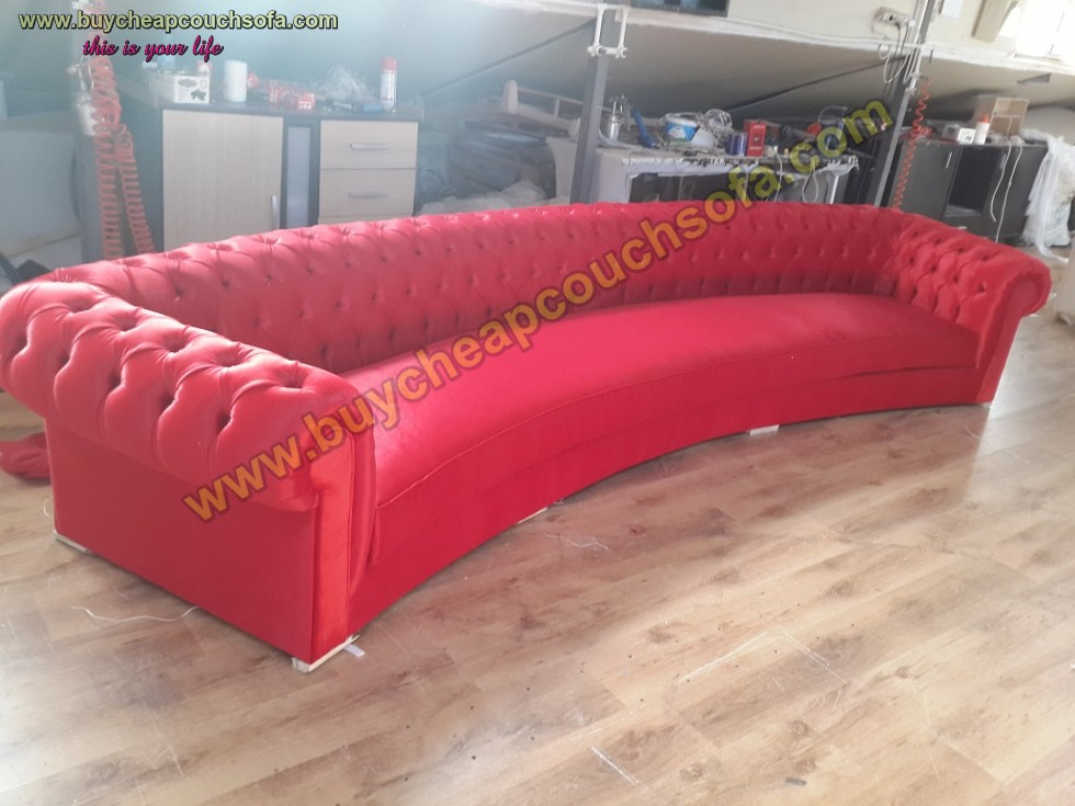 Kodu: 10327 - Red Velvet Chesterfield Sofa 6 Seater Exclusive Tufted Curved Sofa