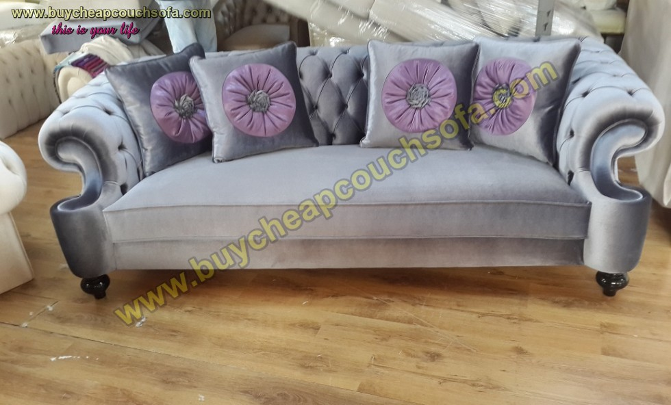 Kodu: 10240 - Suit Gray Velvet Luxury Chesterfield Sofa 3 Seats Couch 4 Pillow
